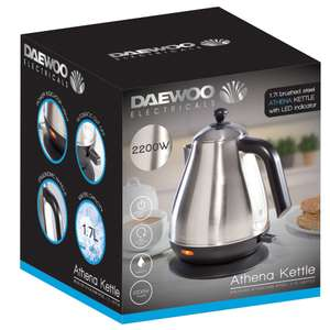 Daewoo Brushed Stainless Steel Cordless Jug Kettle – 1.7L £15.29 @ Robert Dyas