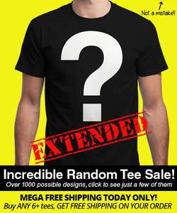 6 x Random Designed Tshirts @ Qwertee + free postage for £24 *TODAY ONLY*