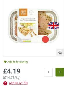 Ginger & lime chicken breasts (285g), £2.49 each when you buy 3 packs using Waitrose PYO