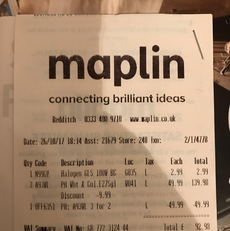 Hue colour bulbs approx £30 each @ Maplin (£92.98 for 3)