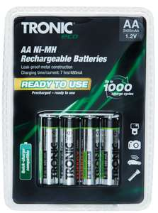 Rechargeable batteries AAA OR AA OR D OR C  £2.99 @ Lidl