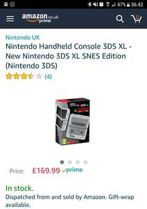 Nintendo 3DS XL SNES Edition £169.99 @ Amazon