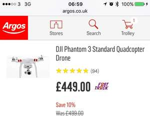 DJI phantom 3 £399 down from £499 use code DRONE50 at Argos plus £10 voucher