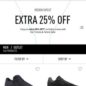 Reebok 25% off automatically applied on checkout. F&F sale starts now