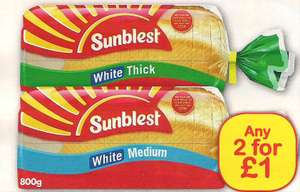 Sunblest Bread 800g 2 for £1.00 at Farmfoods