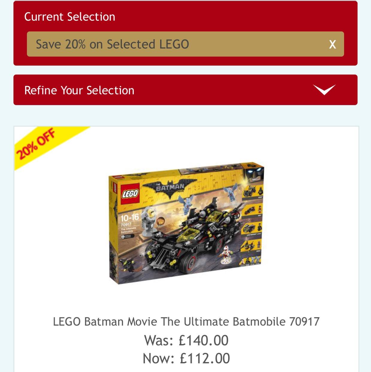20% off Lego sets @HAMLEYS