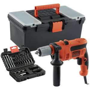 Black & Decker 600W Corded Hammer Drill with Toolbox and 32 Bit Drill Set  £27.99  Argos eBay Store