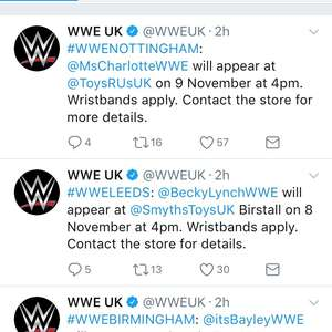 WWE Meet & Greet / Signings released - Free wristbands