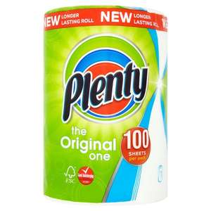 Plenty White Kitchen Roll - 100 Sheets Save 98p Was £1.98 Now £1.00 @ Morrisons