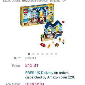 Lego creator beachside vacation at Amazon for £13.81 (Prime or £15.80 non Prime)