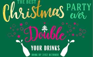 Book your Christmas party at Jamie's Italian before 31st October and they'll double any drinks package you order for free.