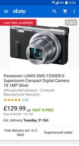 Refurbished Panasonic TZ60 from Ebay Panasonic store for £129.99
