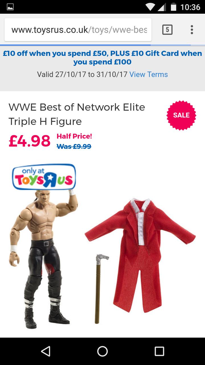 WWE best of network elite triple H figure Half price at Toys r us £4.99 - Free c&c