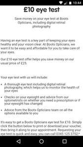 95f579a02e4 Boots opticians eye test for £10 - Boots