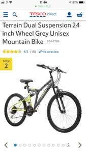 3 for 2 on a selection of bikes.The Terrain Dual Suspension Unisex Mountain bike has a sporty grey and lime green 17-inch steel frame and 24-inch alloy wheels £106.67 @ Tesco