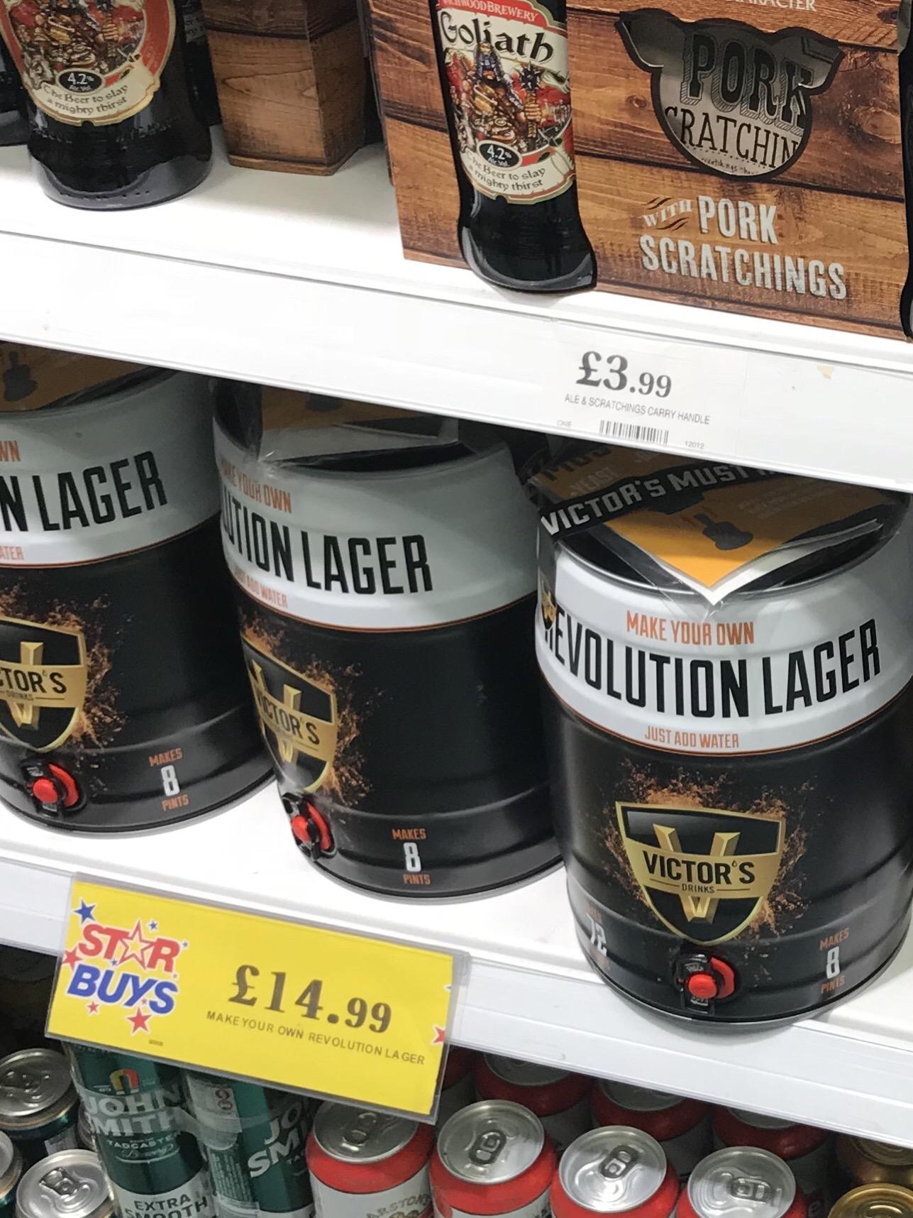 Make your own Revolution lager keg £14.99 @ Home bargains