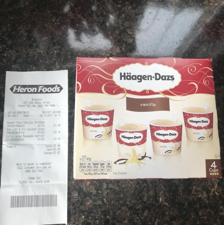 Häagen-Daz vanilla Ice cream 4 x 100ml - £1.49 in Heron.