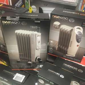 Daewoo Mini 800w oil filled radiator £14.99 or larger 1500w £24.99 at home bargains