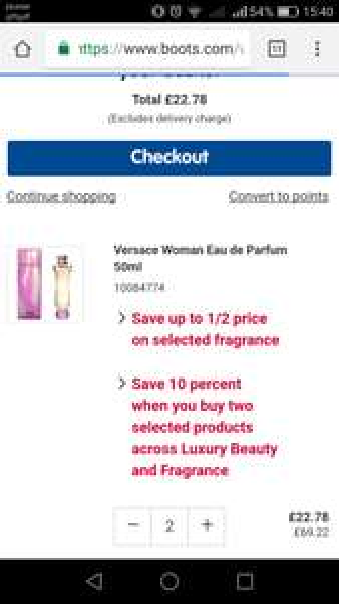 Versace woman edp 2x50ml 22.78 @ Boots