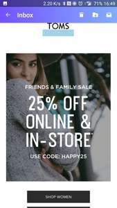 Toms UK 25% off code