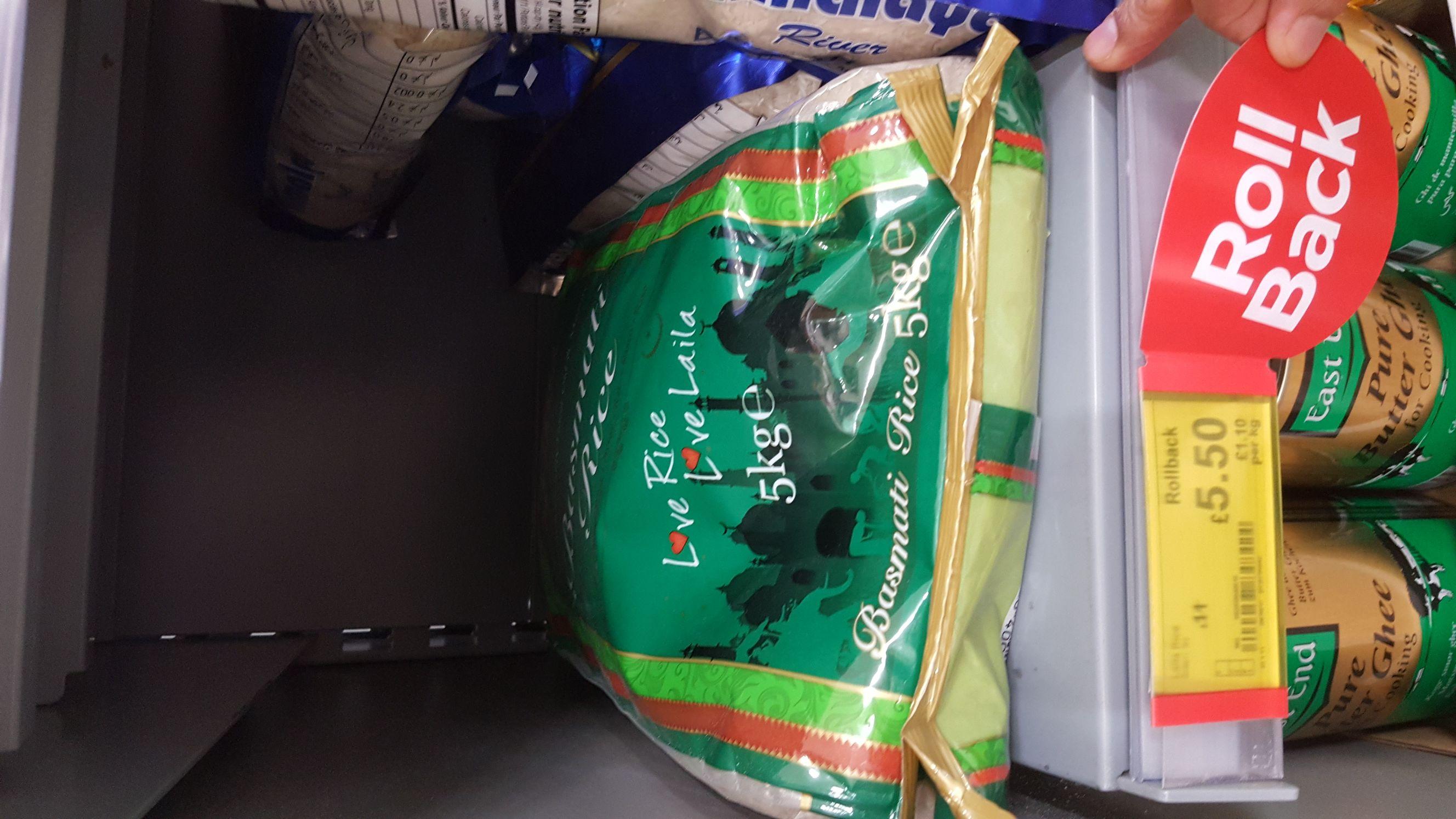 Laila Basmati Rice 5kg for £5.50 @ Asda online & instore