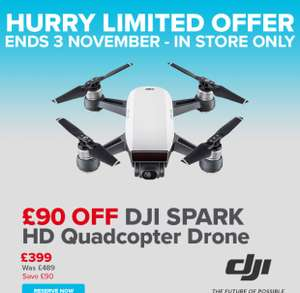 DJI Spark HD Quadcopter £399 or £599 for Fly More Combo instore @ Maplin