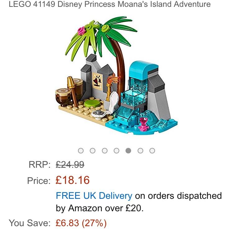 Lego Moana island adventure £18.16 Prime / £22.15 Non Prime @ Amazon