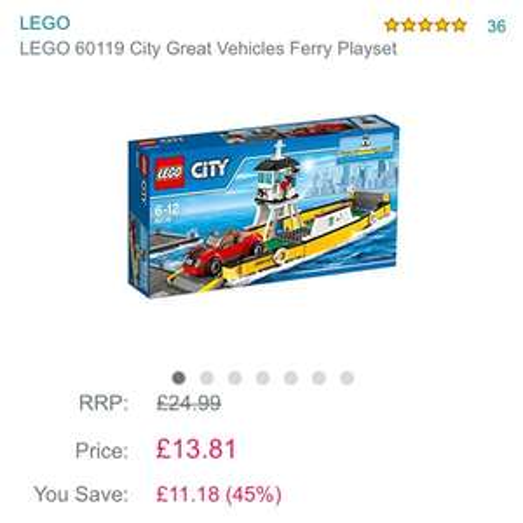 LEGO 60119 City Great Vehicles Ferry Playset £13.81 Prime / £17.80 Non Prime @ Amazon