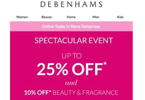 Edit 1/11 - Daily Deals Updated + 10% Off £50 code (including electricals) - Upto 25% Off Women's / Men's / Kid's & Home + 10% Off Beauty + FREE C+C with code in Debenham's Spectacular Event