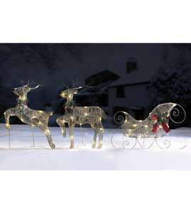 Huge 3 Piece Outdoor Led Reindeer & Sleigh Set in Gold or Silver £29.99 (+ £5 Del) @ Studio (over 5ft long)