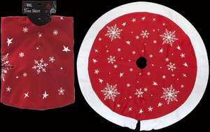 "36"" Christmas Tree Skirt With Stars & Snowflakes - £1.63 Based On A Minimum £5 Ex Vat Spend (Otherwise £4.63) @ CPC"