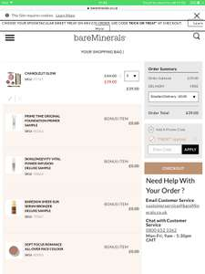 Bare Minerals 7 Piece Set (RRP over £100 if bought separately) + Prime Time Deluxe Sample + Skinlongevity Deluxe Sample + Bare Skin Delux sample + Romance all over face powder + Free delivery for £39