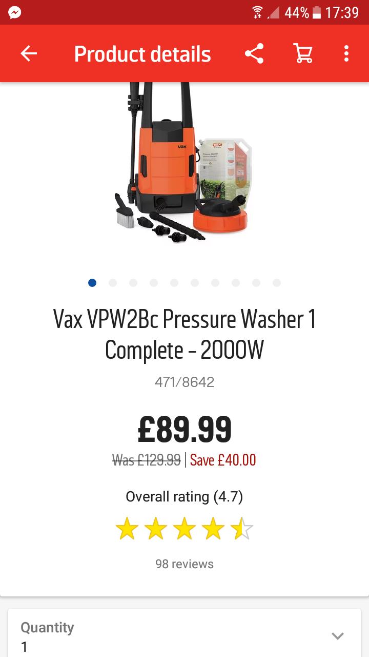 Vax Pressure washer 2000w £89.99 @ Argos