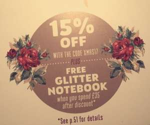 15% off at Cath Kidston plus FREE Glitter Notebook. (When you spend £35 after discount)