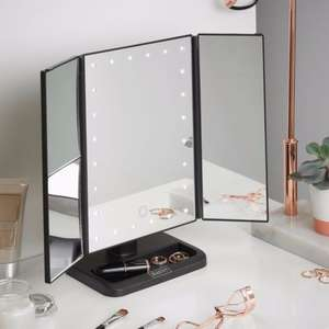 Beautify Vanity Mirror Makeup LED Light Illuminated Tri-fold Dimmable Black £14.99 Delivered @ eBay/domu_marketplace