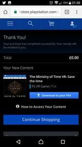 Free: The Ministry of Time VR: Save the time @ PSN