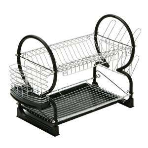 Premier Housewares 2-Tier Dish Drainer (56 cm,Black) - was £17 now £7.98 (Prime) / £12.73 (Non Prime) @ Amazon