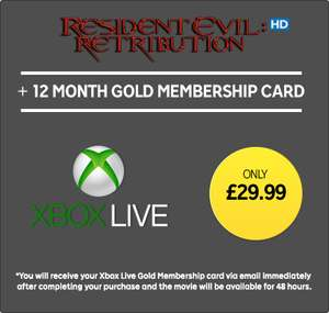 12 Month Xbox Live Gold Membership + Resident Evil Retribution in HD (Rental) for £29.99 @ Rakuten