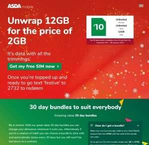 12GB Data - Unlimited Minutes - Unlimited texts - 30 day Xmas bundle -  £10 - Valid for period 1st November - 9th January @ Asda Mobile