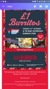 First 1000 burritos at Manchester Deansgate branch of Barburrito today only!