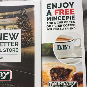 Free Mince Pie And Tea Or Filter Coffee For 2 People At Boundary Mill With