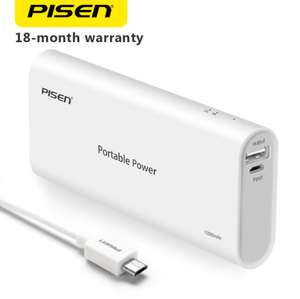 PISEN 10000mAh Power Bank Portable External Battery for Phones and Tablets £10.38 Delivered (18mo Warranty Included) @ AliExpress