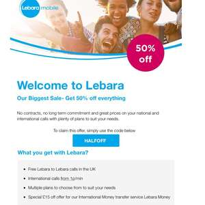 Lebara - 50% off EVERYTHING
