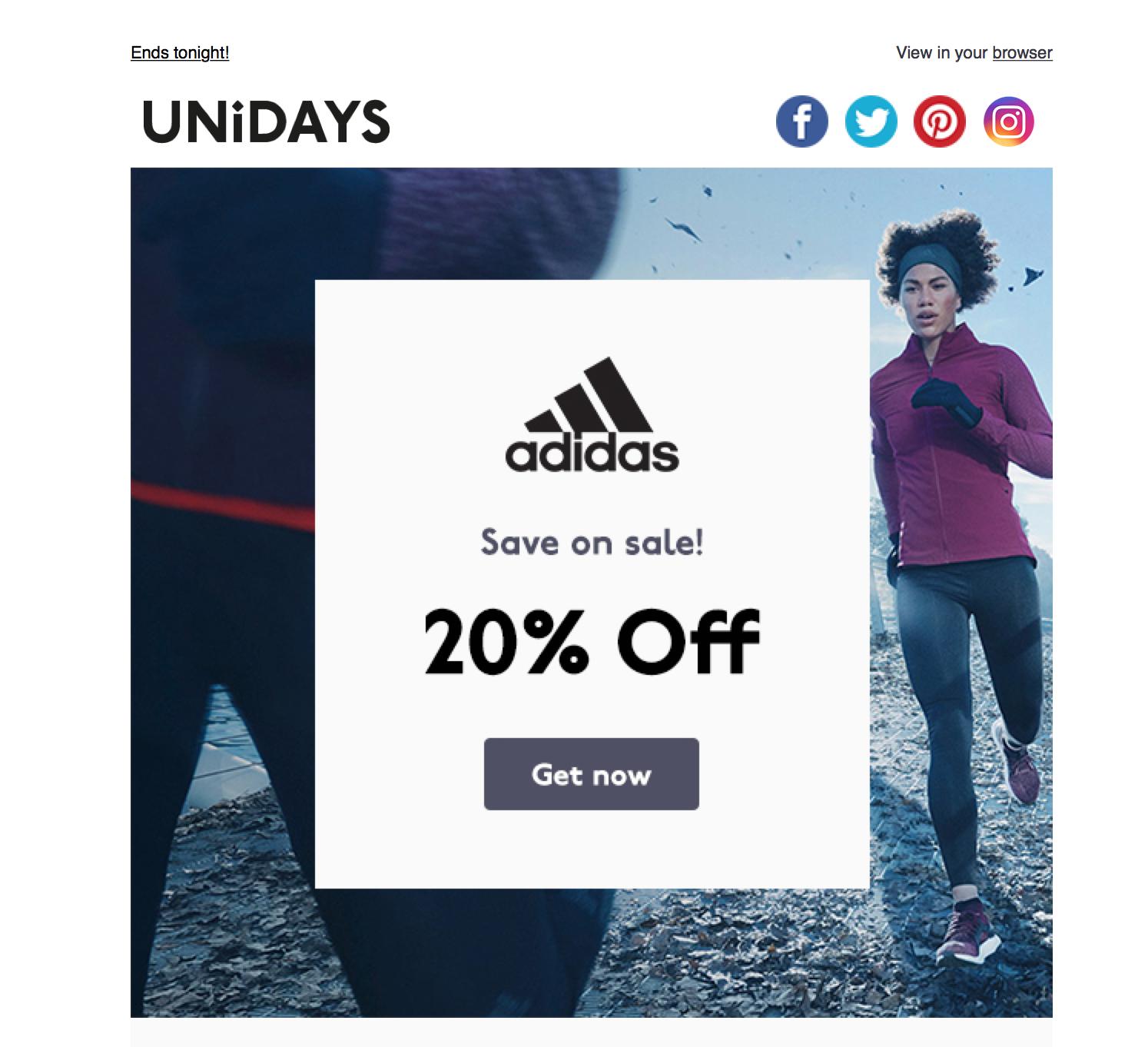 20% off @ Adidas via Unidays