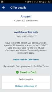 Spend £25 on Amazon you get 500 avios for amex card holder