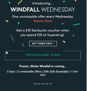 £10 starbucks voucher for £10 superdrug spend vouchercodes
