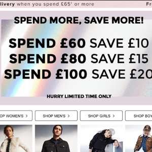 £10 off £60 Spend, £15 off £80 spend and £20 off £100 spend at River Island!