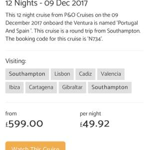 P&O cruises 12 nights , from £599pp based on 2 sharing (£1198) Spain and Portugal. December