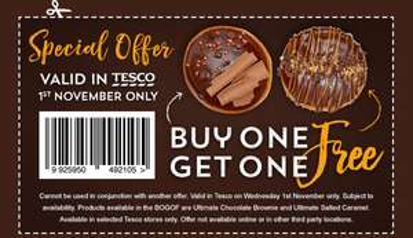Krispy Kreme - DOUGHNUT Buy one get one FREE today only at Krispy Kreme or Tesco