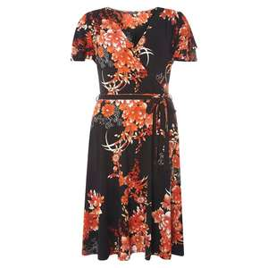 Dorothy Perkins - Tall oriental floral wrap fit and flare dress £3 at Debenhams - delivery £3.49